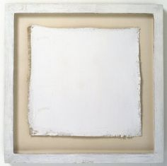 """Robert Ryman, An all white painting measuring 9 1/2 """" x 10"""" and signed twice on the left side in white umber, 1961"""