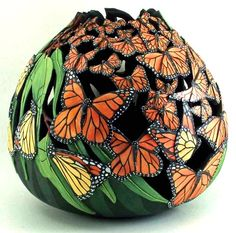 I have a large basket of gourds I've been waiting to 'tell me' what they wanted to become, but this beauty? - yeah, right