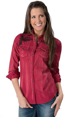 Life Style® Women's Distressed Red with Black Embroidery Long Sleeve Western Shirt