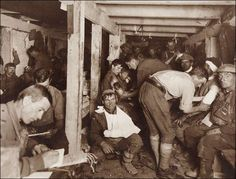 Scene in an Advanced Dressing Station WWI. Frank Hurley, Australia