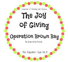 Teaching your Child about the Joy of Giving with Operation Brown Bag guest post by Mari Hernandez at The Educators' Spin On It #spreadingjoy #givingtuesday