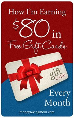 How She is Earning $80 in Free Gift Cards Every Month -- four sites you can sign up with to earn #freegiftcards. These really work!