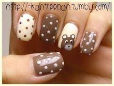 nail tips, animal nails, polka dots, teddy bears, nail arts