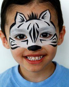 Schmink Zebra / face paint www.hierishetfeest.com animal facepaint, animals face painting, facepainting animals, facepainting ideas for kids, animal faces, face paintings, facepainting kids, facepainting for kids, face art