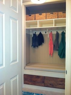 Boring Closet turned into a functional entry nook.