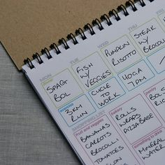 Weekly Planner notepad - A5 - shopping, meal and exercise planner, recycled, $14