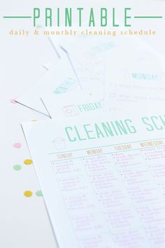 Printable Cleaning Schedule: finally printable a that go beyond just listing vacuum, laundry and dust... Nice details on the printables too
