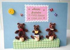 Handmade paper quilled teddy bear family