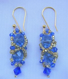 Light Blue and Gold Drop Earrings/ Gold and by LittleGemsandMore, $15.00