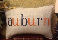 AUBURN Stenciled Burlap Pillow on Etsy, $40.00