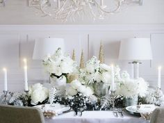 Classic All-White Holiday Dinner Party - Creating a White-on-White Holiday Tablescape on HGTV