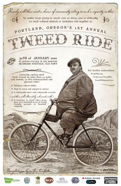 bike, tweed ride, bicycl, pacif northwest, poster 2010, ride poster, posters, bicicleta antigua, portland oregon