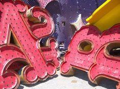 neon graveyard studio, las vegas, neon sign, big letters, pink signag, light pink, carnivals, old letters, carniv letter