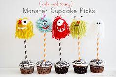 monster cupcake picks craft, party treats, cupcak pick, shade, yarn, monster mash, cupcake toppers, kid, parti