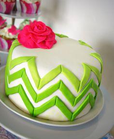 ombre chevron DIY cake