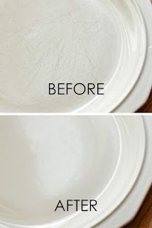 24. Also from Pinterest- Bar Keepers Friend Liquid Cleanser and powdered cleanser will remove scratches from dishes.  According to the lovely over at Outnumbered the blog, it took her plain white dishes from old to new again.  All she did was apply a bit to a wet sponge and use some elbow grease, and they look fantastic