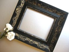 Vintage French Country Frame Black Gold Shabby and Chic by Swede13, $42.00