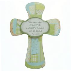 Child's Patchwork Baptism Wall Cross,  $12.95.