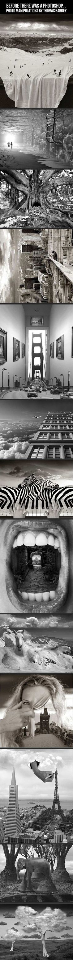 """""""Shopped!"""", is the constant cry of internet's sceptic and avid web browser. But after seeing Thomas Barbéy's works many sceptics are pleased to say """"'Shopped"""". Barbéy's surrealistic manipulations are not only works of retouching and airbrushing – he also sticks the negatives together, photographs them, uses other techniques to reach the concept vision he had in his mind first – but few are able to resist the gripping illusion."""