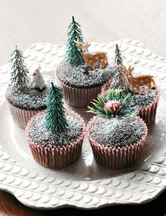 Delicious Christmas Cupcakes with chocolate and dusted with crushed sugar to look like a Winter Wonderland.