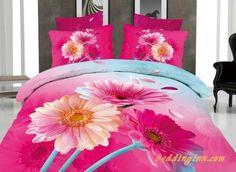 #sunflower #bedding #cotton Stunning Pink Flower Print 4-Piece Cotton Duvet Cover Sets  Buy link->http://goo.gl/NQfbnl Live a better life, start with @beddinginn
