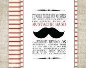 MUSTACHE BASH Boy BIRTHDAY Barber Shop Style Invitation Party Digital diy Printable Cards - 84876426