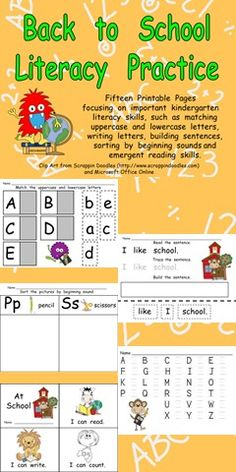 This packet includes several literacy activities perfect for a kindergarten classroom at the beginning of the school year!!   There are fifteen printable pages focusing on important kindergarten literacy skills, such as matching uppercase and lowercase letters, writing letters, building sentences, sorting by beginning sounds and emergent reading skills. $