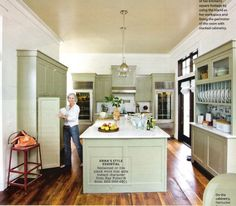 interior, cabinet colors, blue, green, small kitchens, coastal living, benjamin moore, kitchen islands, kitchen cabinets