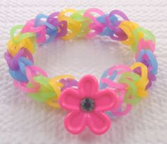 Glow in the dark diamond weave with pink flower button