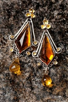 Sterling Silver and Citrine Briolette Earrings