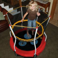 Amazon.com: Skywalker Trampolines 48 In. I don't love the idea of an trampoline in the house but the boy jumps on everything else.  This may prove worth the $ and space