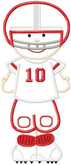 Football Player Machine Applique Design. $4.99, via Etsy.