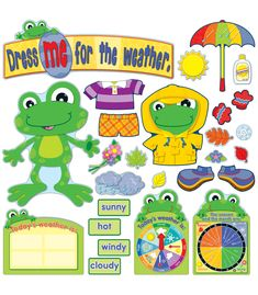 """The FUNky Frogs Weather Bulletin Board set will liven up any classroom with playful, energetic characters and colorful accents!  Designed to use year-round, this display includes everything you need to create an informative, yet fun, classroom seasonal display. 82-piece set includes: 1 frog (13¼"""" x 17¼""""), 9 weather cards,1 weather chart, 35 various weather accents, a  #CDWish13"""