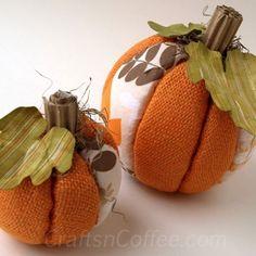 balls, felt, nosew burlap, coffee, fall pumpkins
