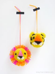 idea, craft, pom poms, pompom anim, diy anim, jungle animals, anim pompom, printabl, kid