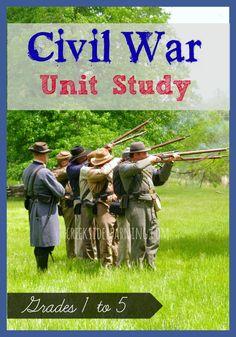 Resources for a Civil War Unit Study for elementary aged kids. #civilwarforkids #handsonhistory #homeschooling age kid, unit studi, civil war for kids