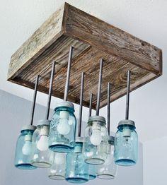 Reclaimed Wood & Mason Jar Chandelier
