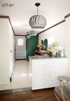 white tile counter