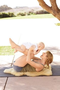 Yoga moves with baby.
