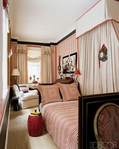 French Empire style bedroom with red and white wallpaper