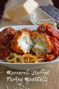 Mozzerella Stuffed Turkey Meatballs.