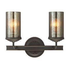 Sfera Autumn Bronze Two Light Bathroom Vanity Fixture with Mercury Glass $98