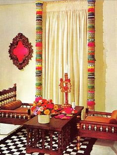 """Nice way to dress up a """"so-so"""" window.  PVC pipe cut to length and cut in half then wrapped in funky fringe and ....voila!...instant boho!"""