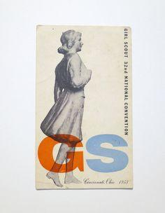 Alvin Lustig, Girl Scout Postcard, 1953 / via designcollect on Etsy
