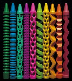 Rhese hand-carved, boldly colored crayons from artist Pete Goldlust are equally exquisite. At first glance, the patterns seem almost machine carved, or extruded, but these were each done by hand. If you look closely, youll see tiny inconsistencies (like in the spacing on the lime green one or the medium orange) that signify handmade work.