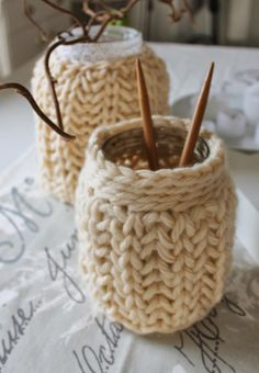 So cute, knit covers for mason jars!