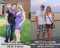 """Look at us just a year ago – overweight, grumpy and tired."" Their story here: http://zoevblog.com/2010/07/05/my-raw-food-journey-6-month-update-before-after/"