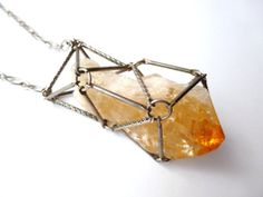 Large Raw Citrine Caged Crystal Pendant Necklace by FawneyFortune, $35.00