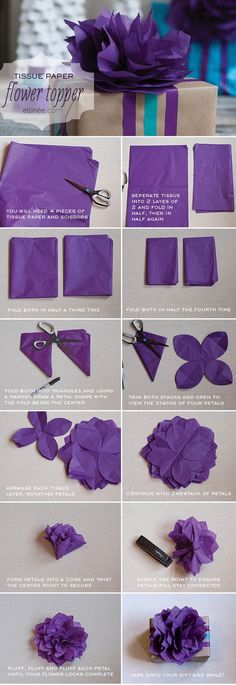 tissu paper, gift wrapping, paper bows, flower topper, tissue paper flowers, purple flowers, flower tutorial, tissue flowers, crepe paper flowers