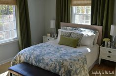 Blue and green master bedroom from Simplicity In The South. Sydney Palampore duvet from Pottery Barn.